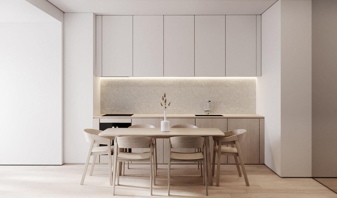Классический вариант оформления кухни в стиле минимализм в спокойных приглушенных тонах