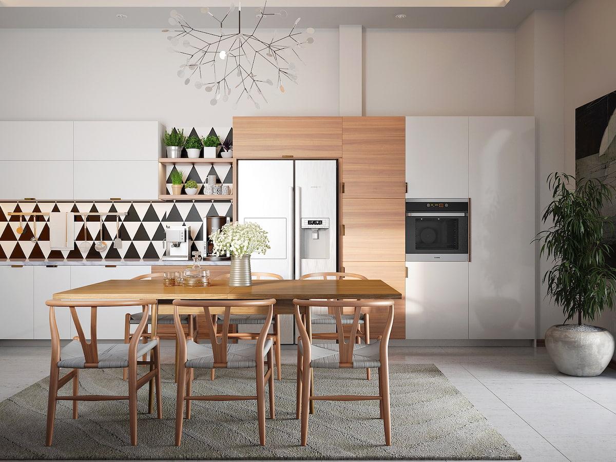 Красиво обустроенная кухня в спокойных и мягких оттенках