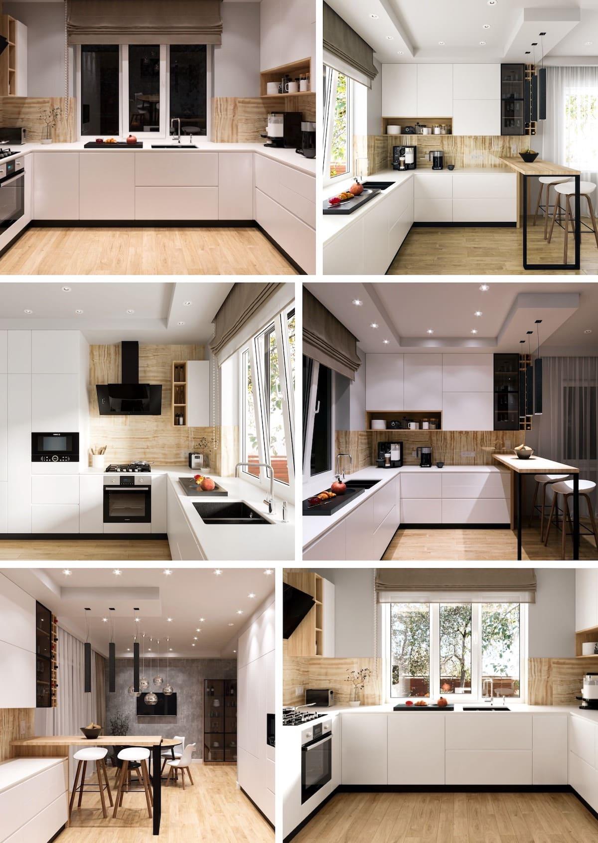 Хорошим дополнением в обустройстве белоснежной кухни станут: оригинальный текстиль, изящная посуда, лампы и бра, соответствующей тематики