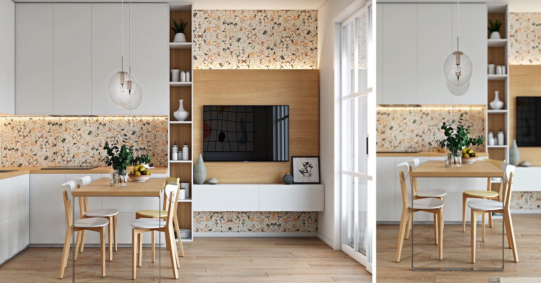 Декоративные панели, встроенные в стену в повседневном обиходе, станут изюминкой дизайна белой кухни с деревянной столешницей