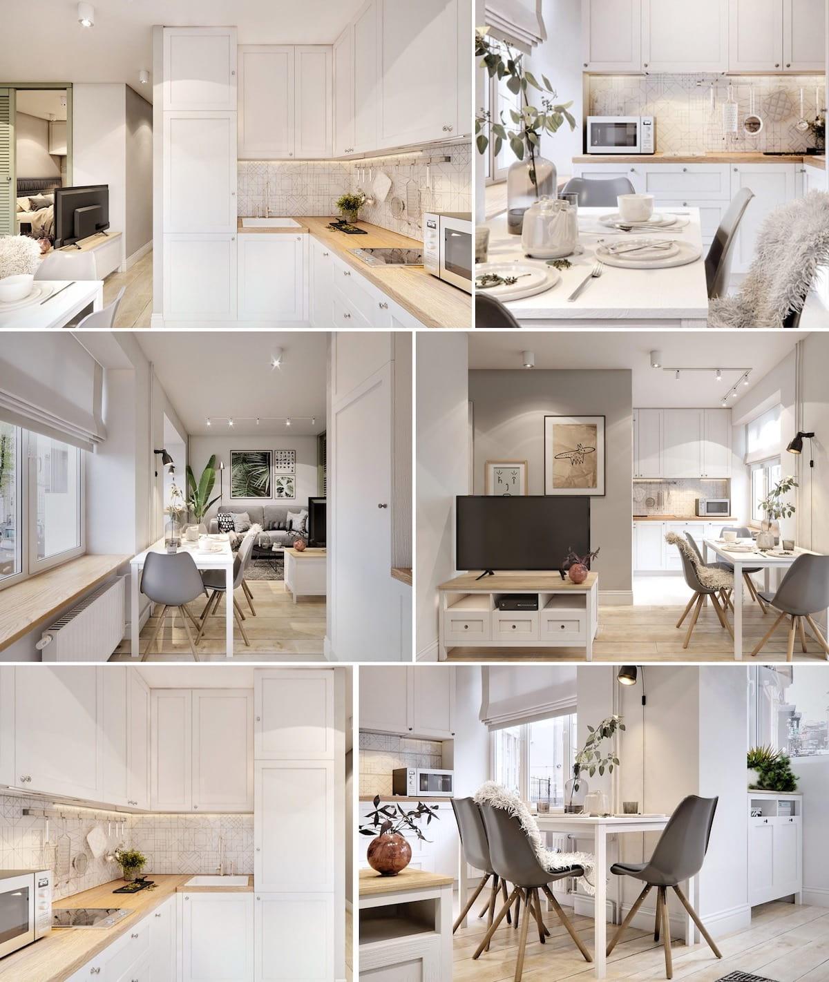 Белоснежную кухню в классическом стиле, где собираются все члены семьи за обедом, можно обустроить таким образом, что оно станет прекрасным дополнением интерьера