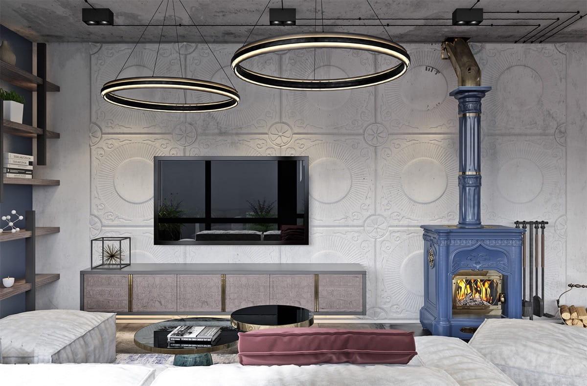 Разбавить однотонный интерьер комнаты поможет камин, выкрашенный в какой-нибудь яркий цвет
