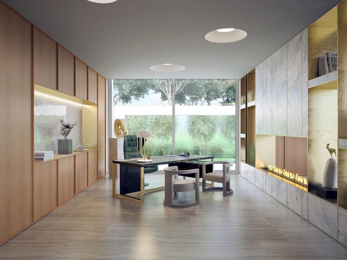 Камин помогает придать завершенность интерьеру данной комнаты