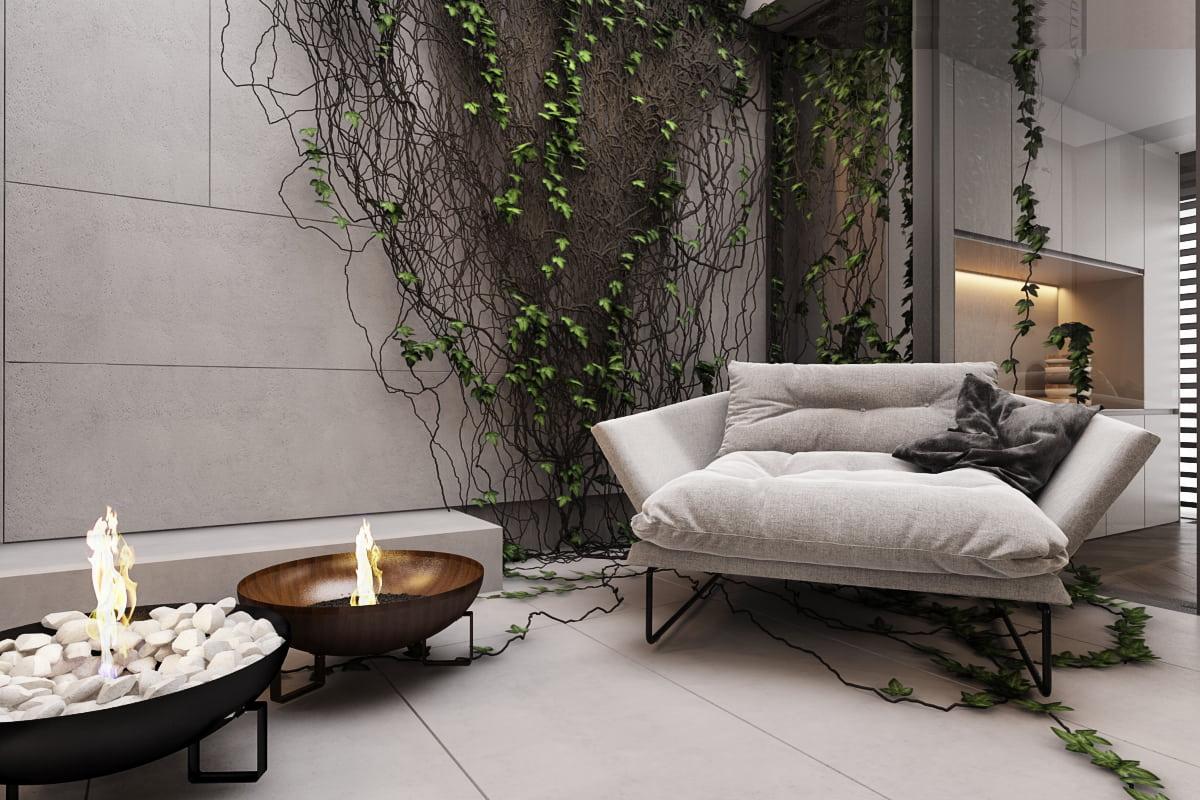Эко дизайн легко сочетается с любым видом камина