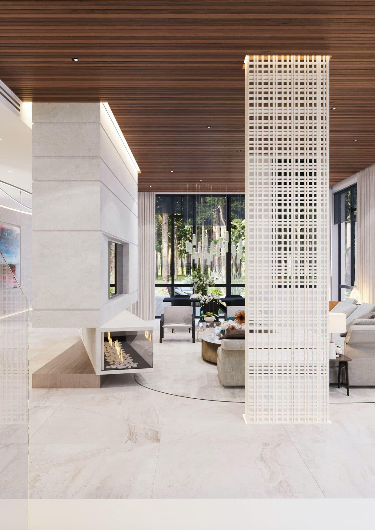 Дизайн интерьера в стиле хай-тек с изящным камином в центре внимания