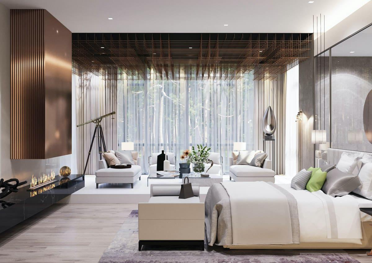 Спальня в стиле ар-деко с камином роскошно отделанным позолотой