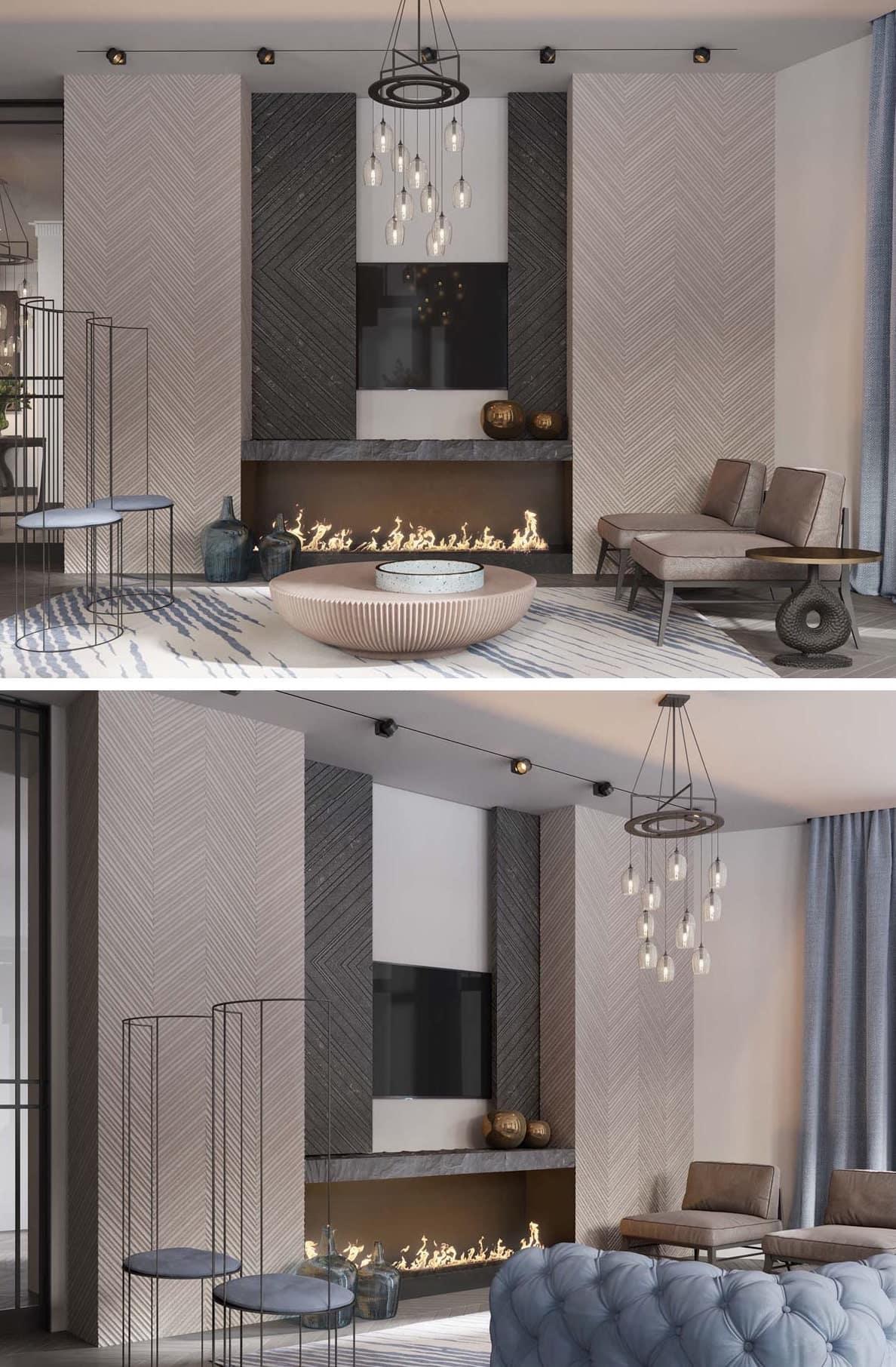 Светлый лаконичный интерьер просторной гостиной с камином