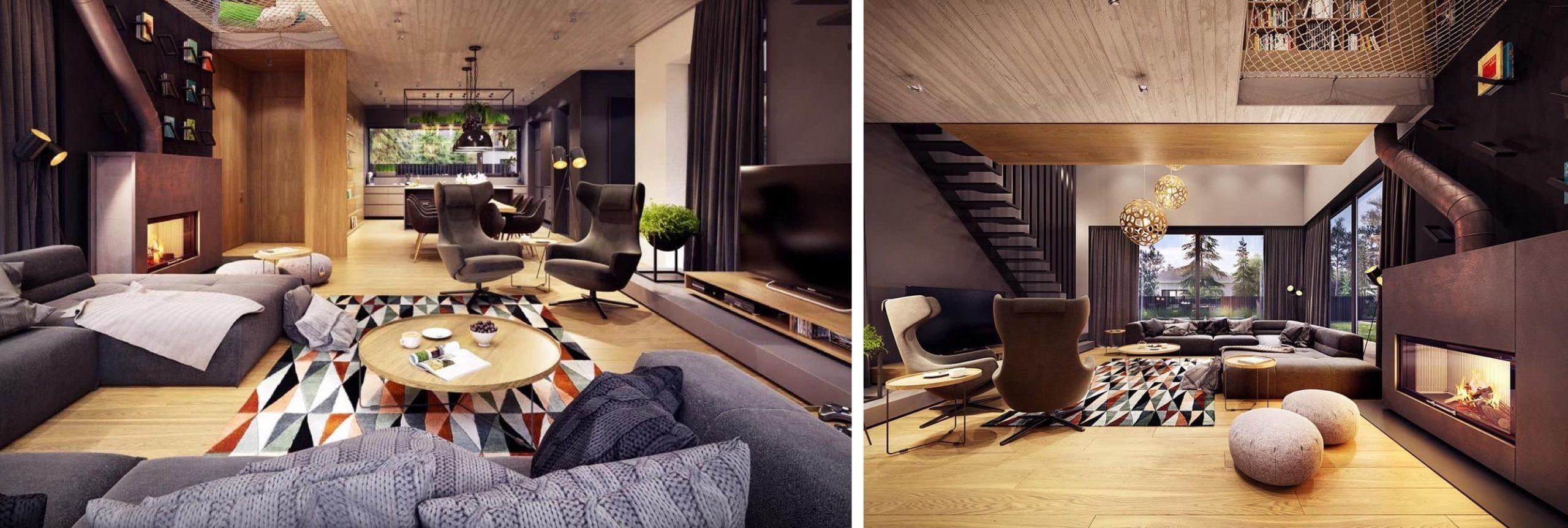 Уютная гостиная в теплых тонах
