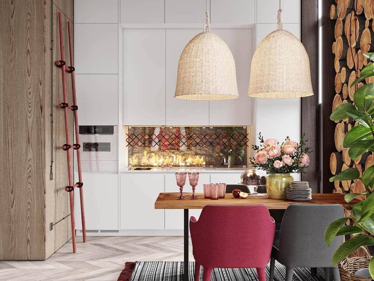 Электрический камин интегрированный в кухонный фартук – гениальная идея дизайна