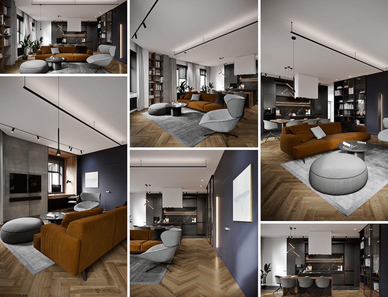 серый цвет в интерьере гостиной фото 1