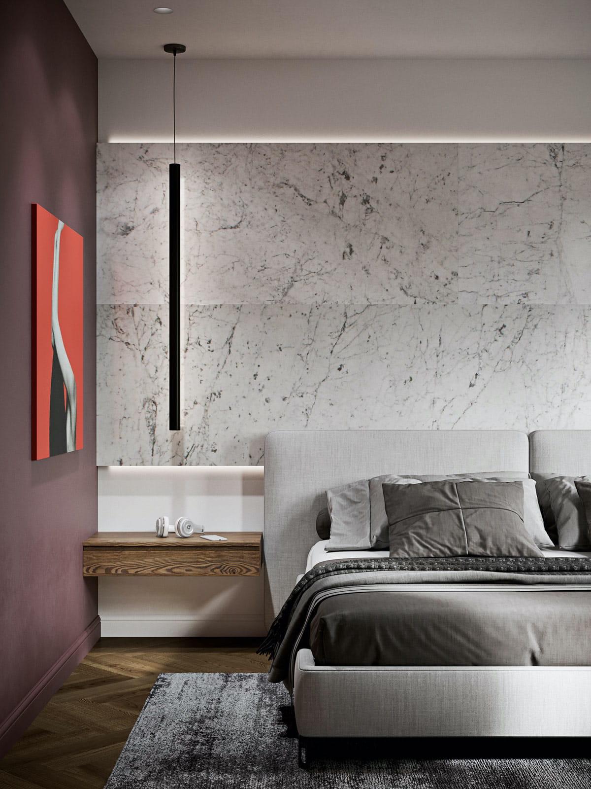 серый цвет в интерьере спальни фото 2
