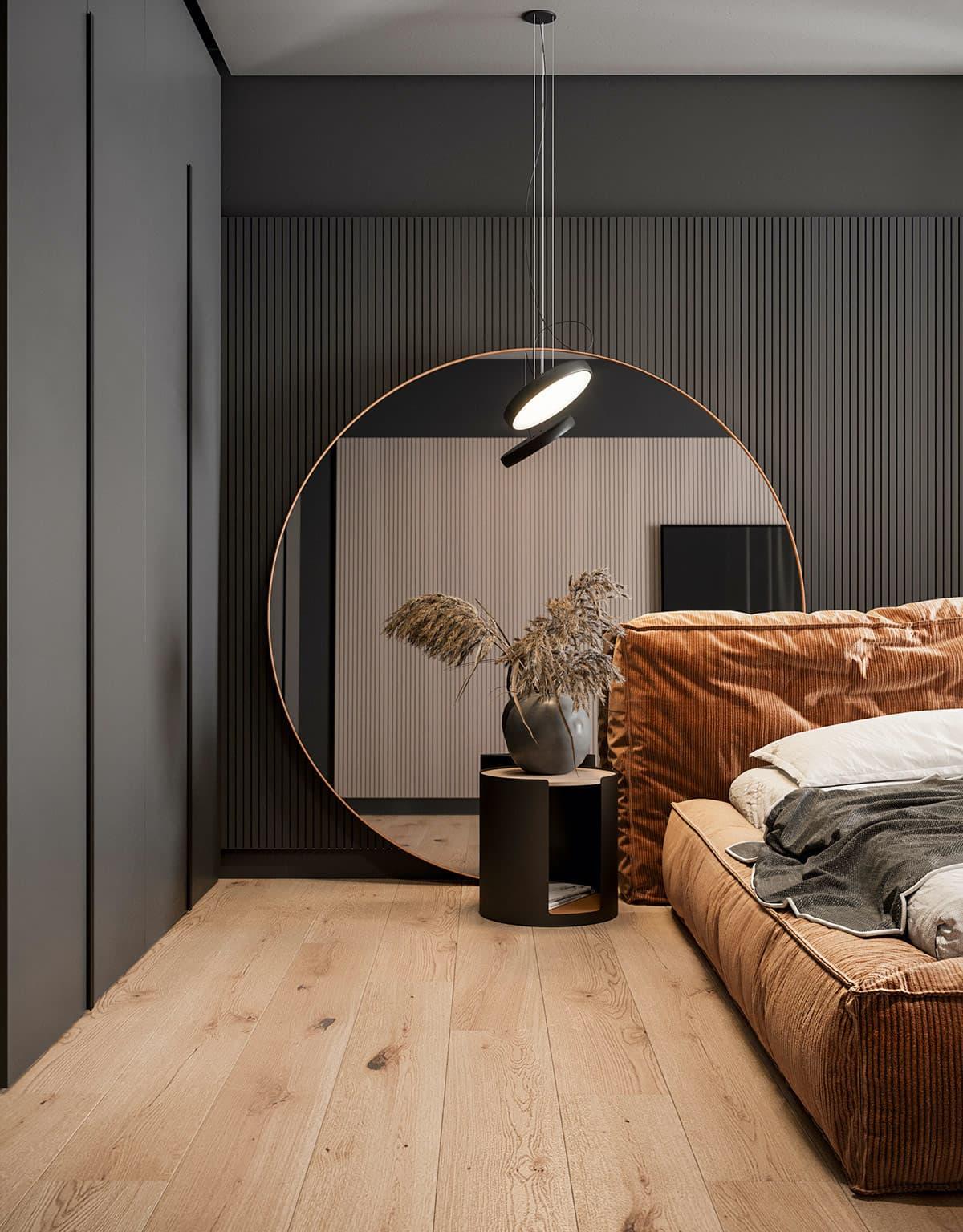 серый цвет в интерьере спальни фото 3