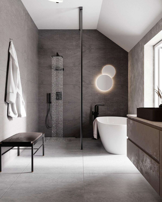 серый цвет в интерьере ванной фото 1