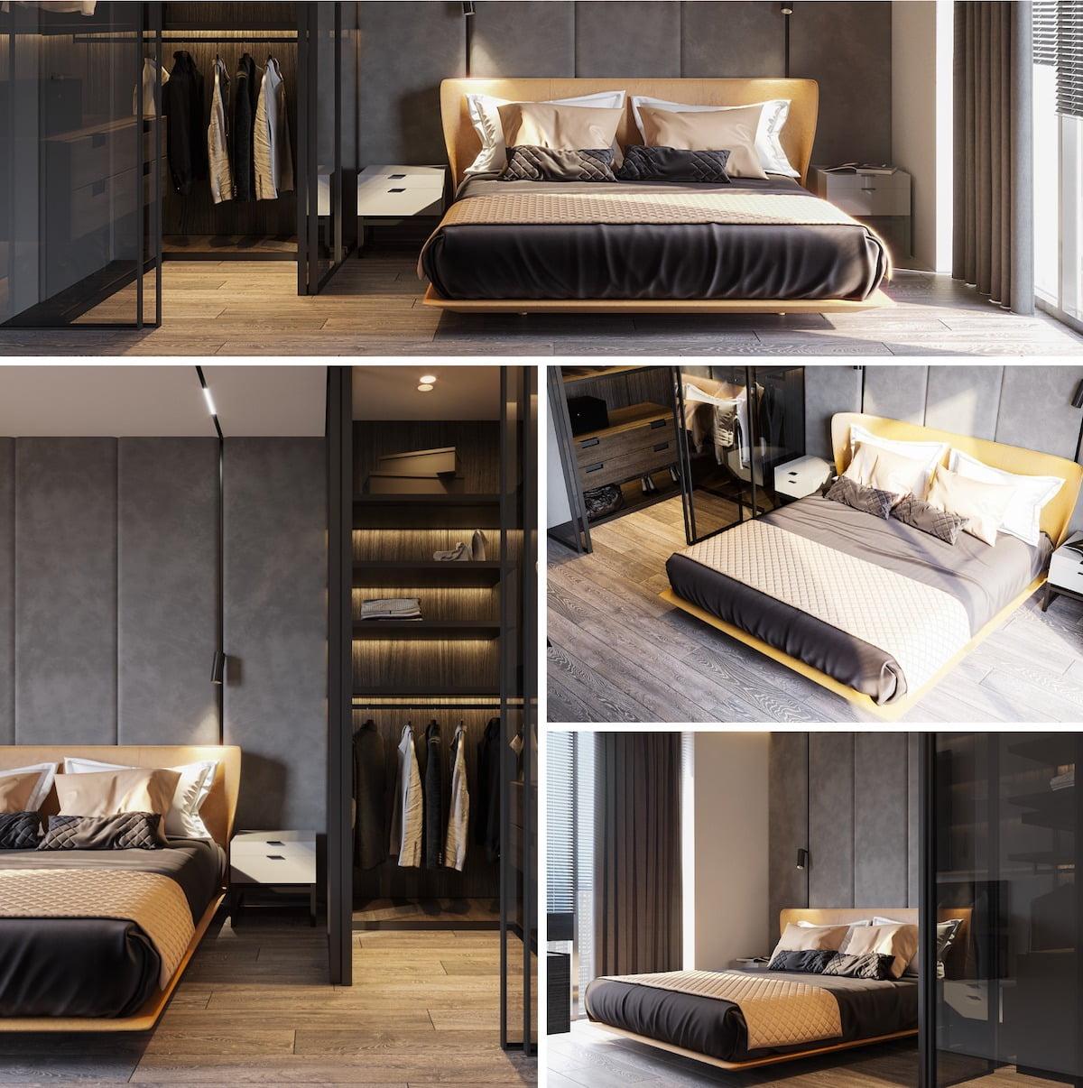 серый цвет в интерьере спальни фото 5