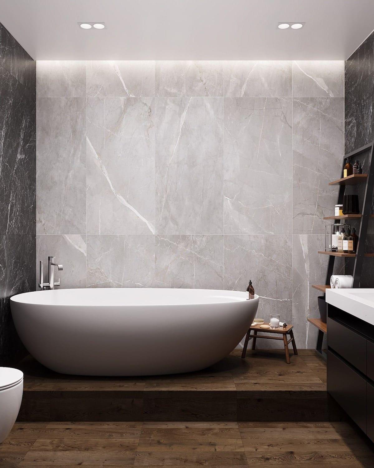 серый цвет в интерьере ванной фото 2