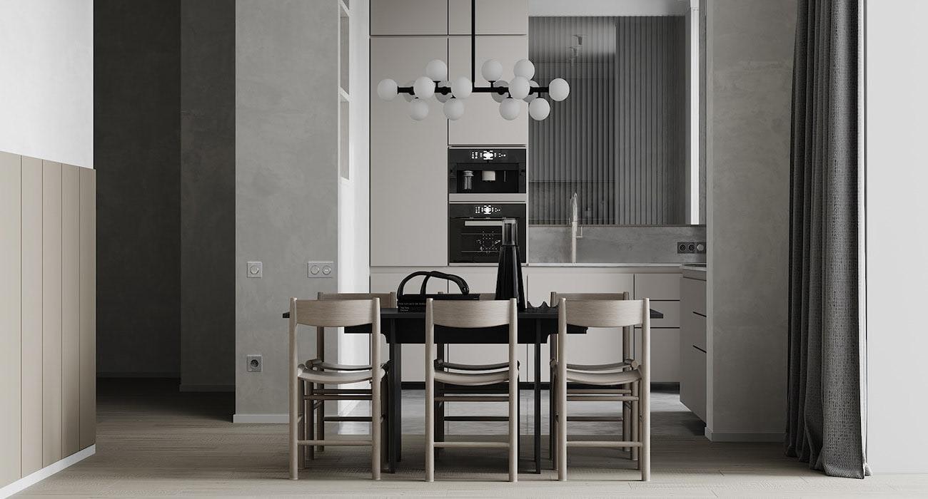серый цвет в интерьере кухни фото 3