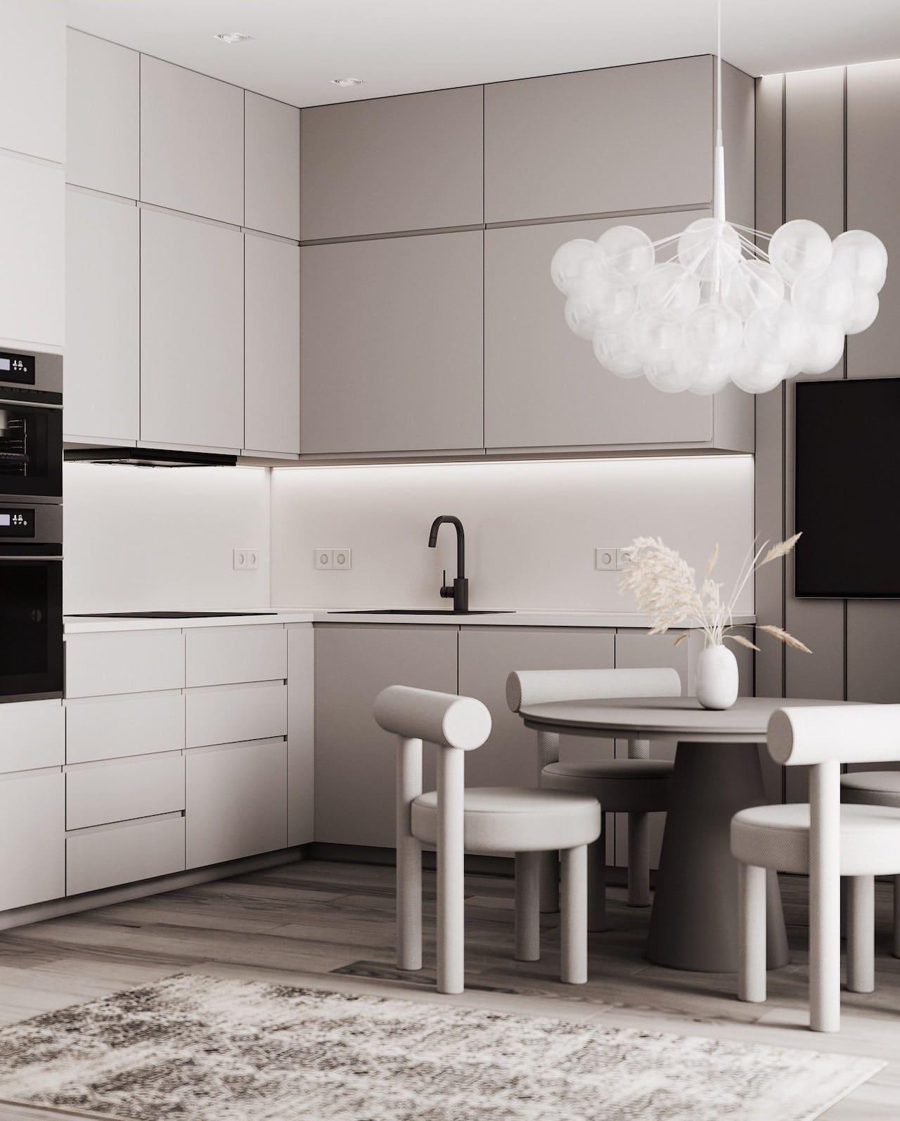 серый цвет в интерьере кухни фото 5