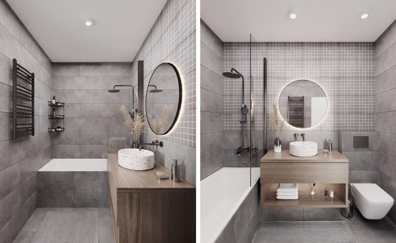 серый цвет в интерьере ванной комнаты фото 1
