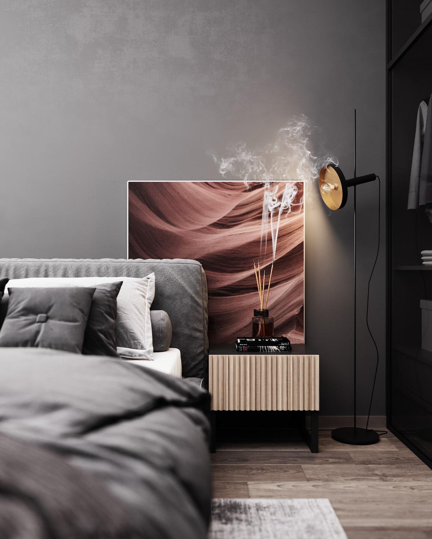 серый цвет в интерьере спальни фото 7