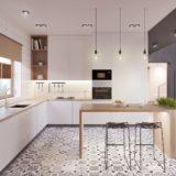 белая кухня столешница и фартук из дерева 1