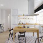 белая кухня с деревянной столешницей фото 7