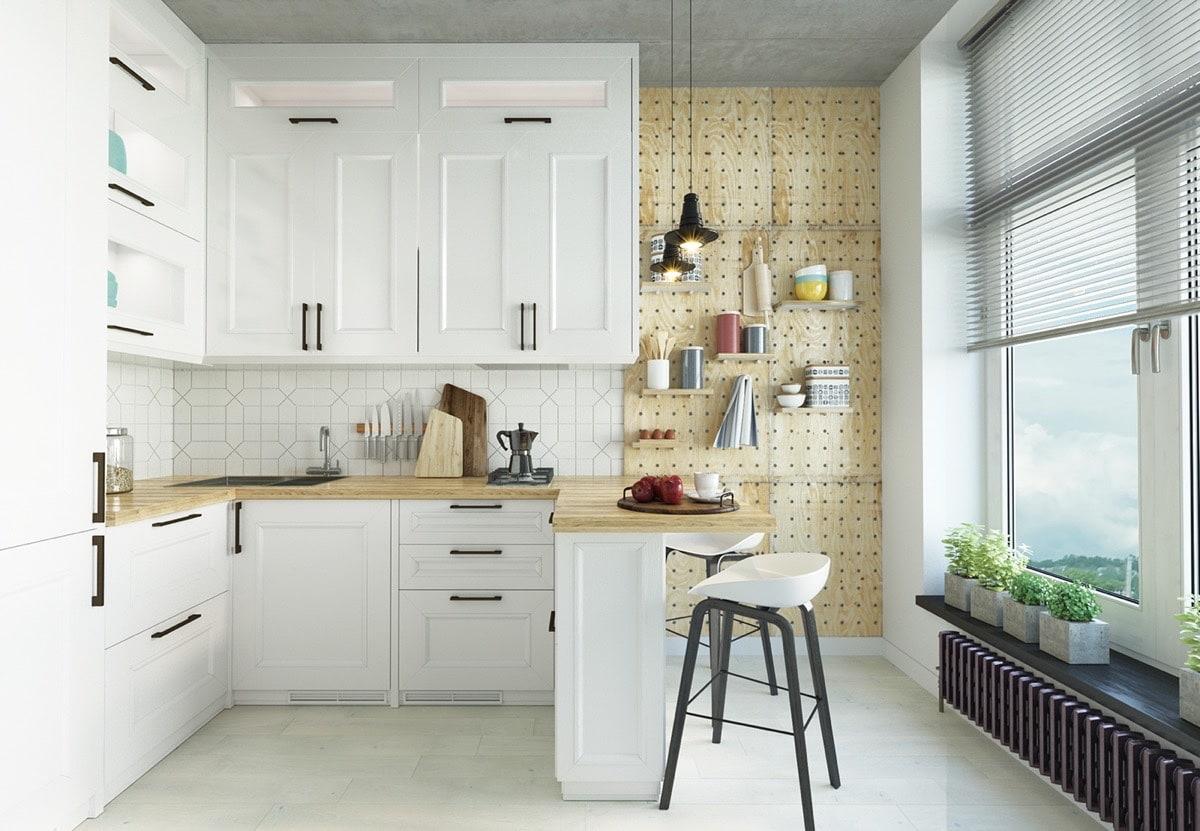 Разрабатывая дизайн белой кухни с деревянной столешницей важно правильно провести оформление каждой зоны