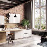 белая кухня с деревянной столешницей фото 9