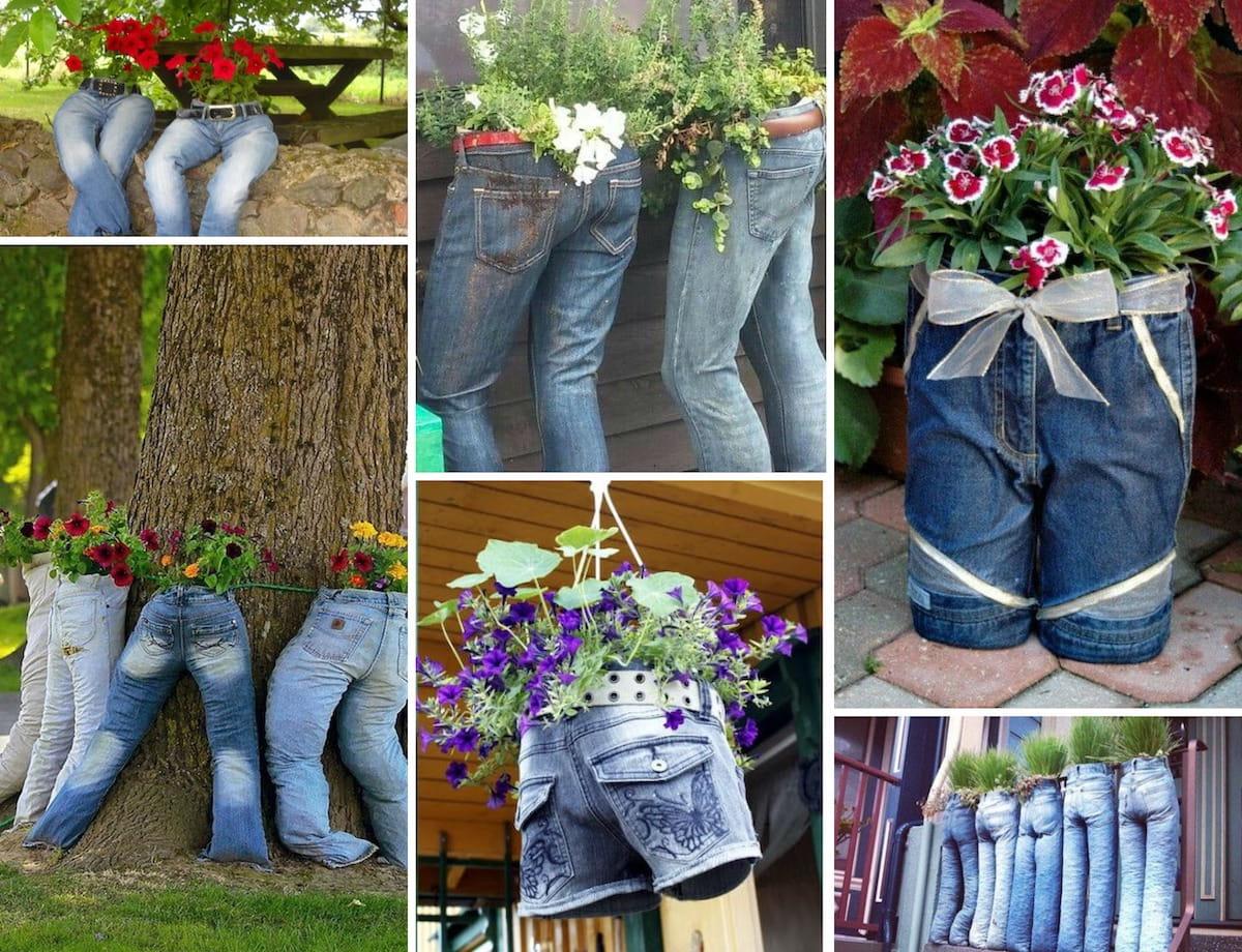 Идеи клумбы из джинсов