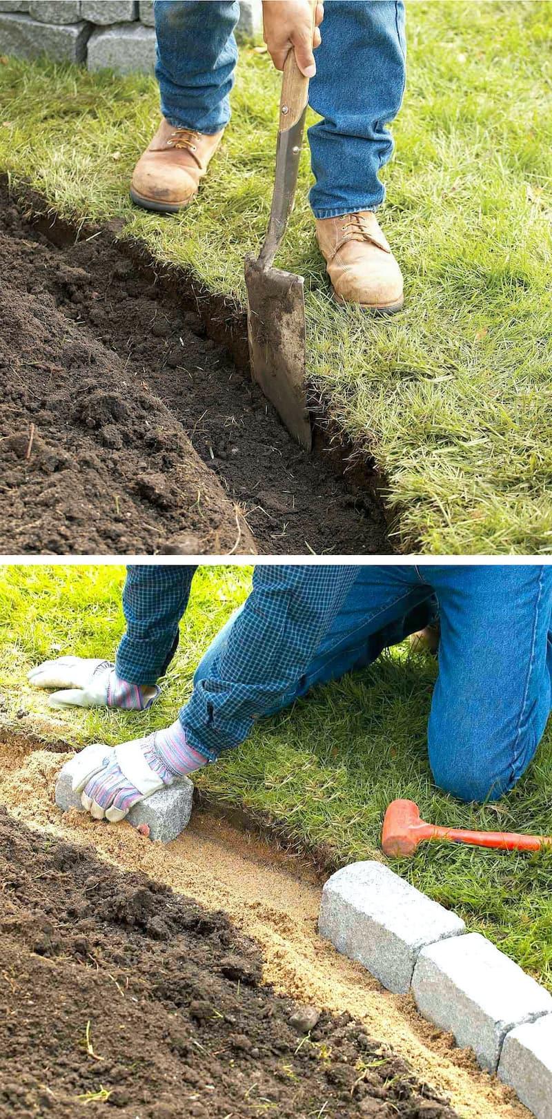 Ограждение для клумб из камня выполняется в три этапа: 1 – рытье траншеи, 2 – подсыпка (трамбовка), 3 – укладка камней