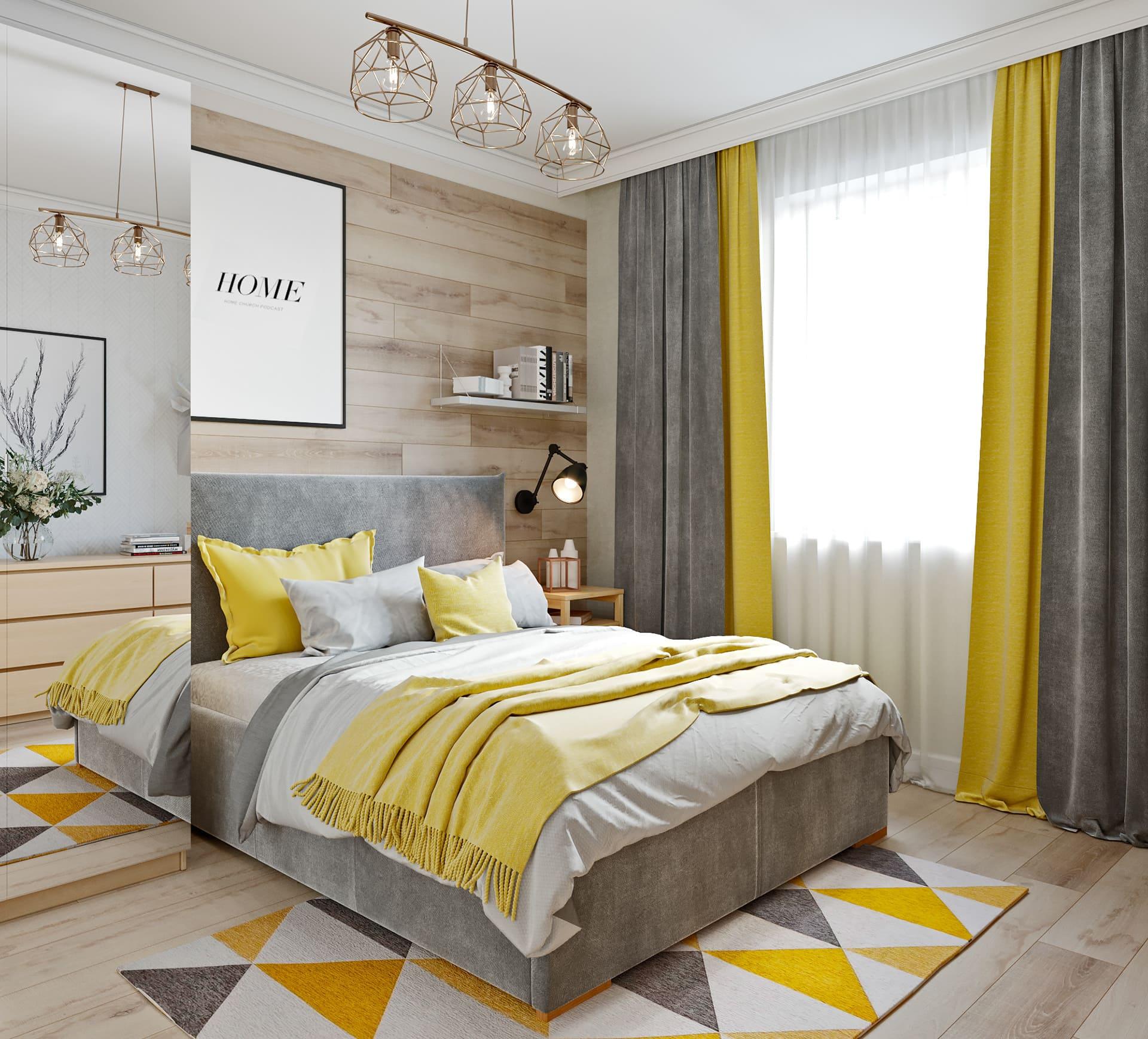 комбинирование штор для спальни фото 1