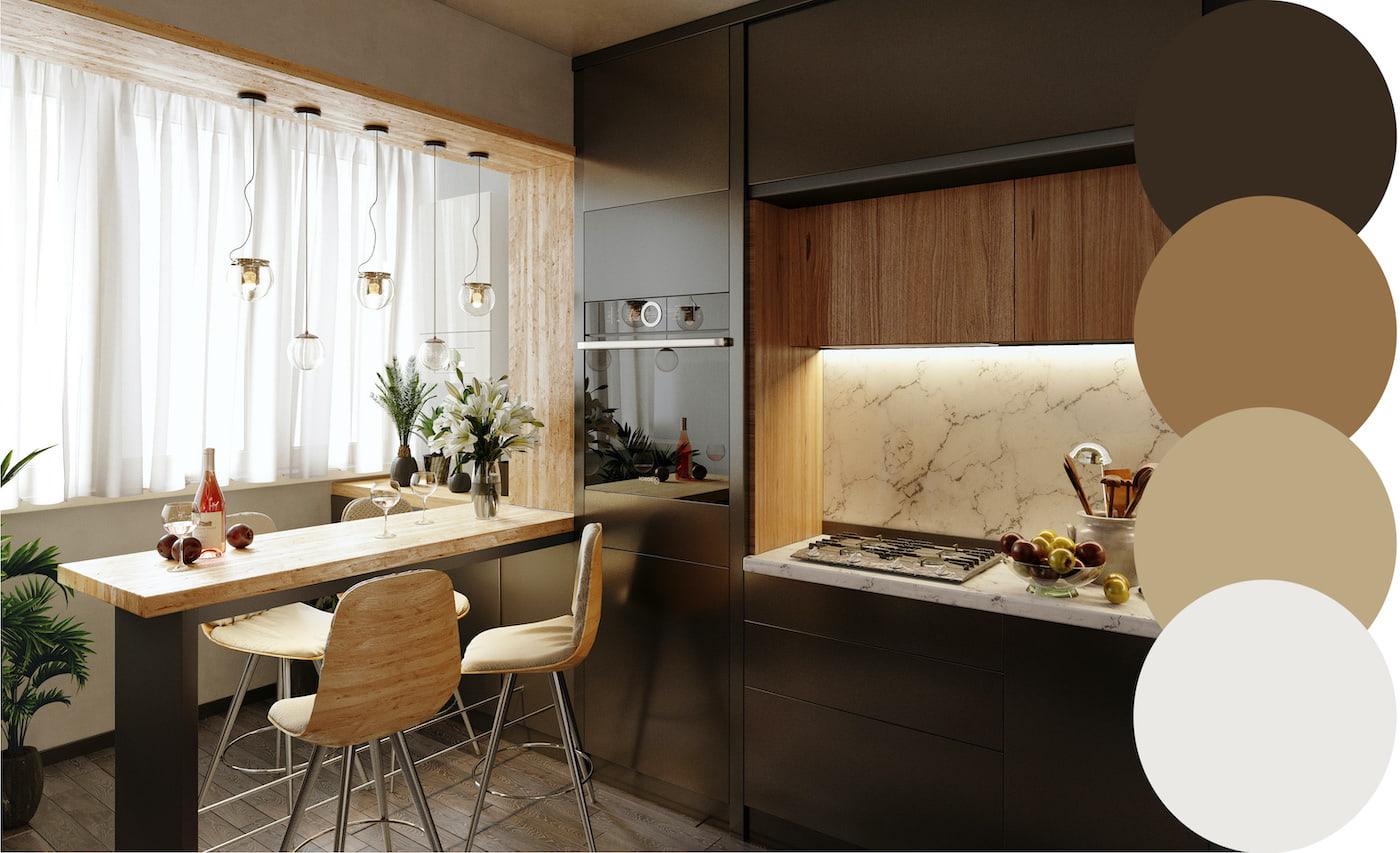 комбинирование штор на кухне фото 1
