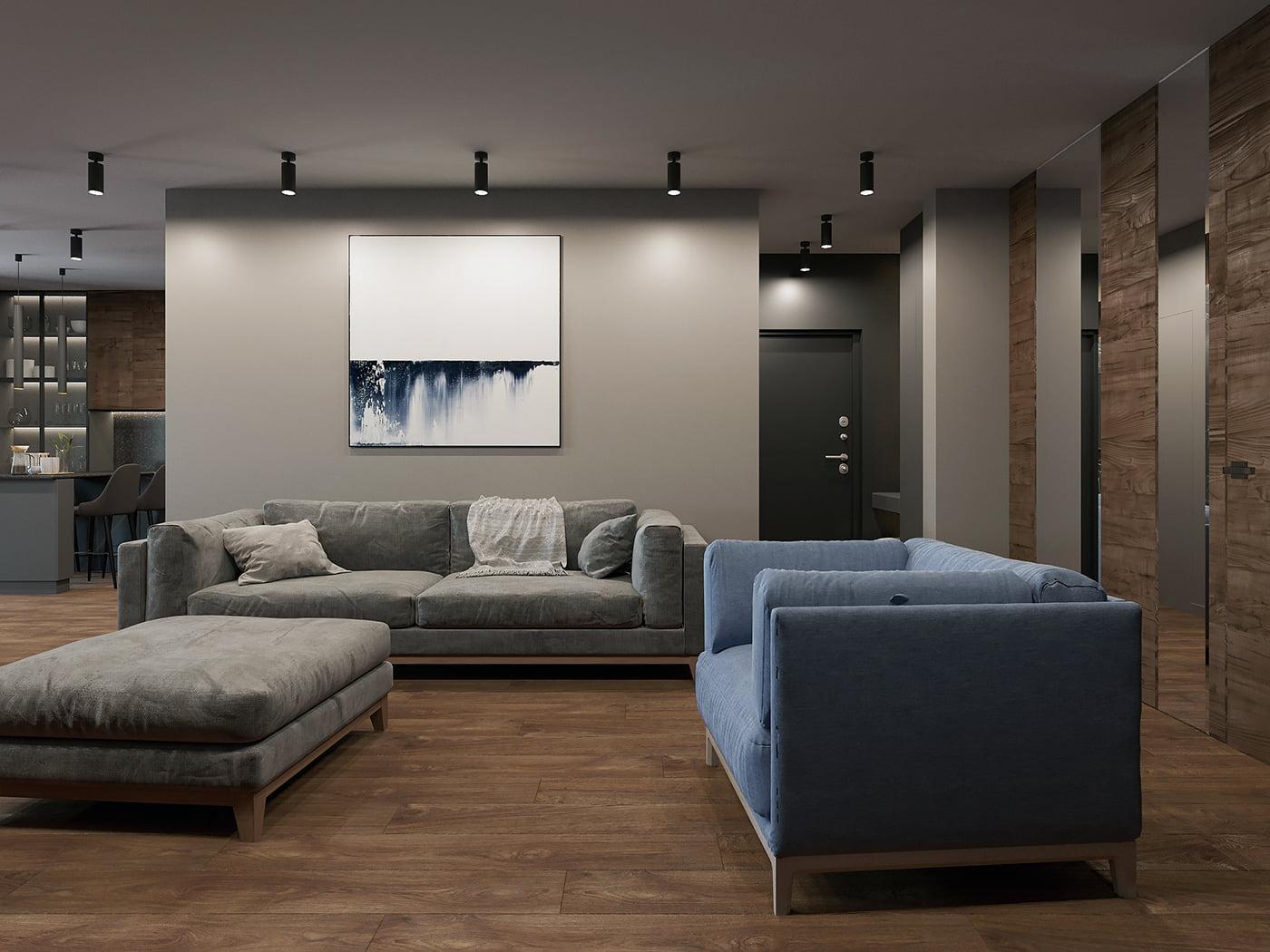 интерьер современной гостиной 12