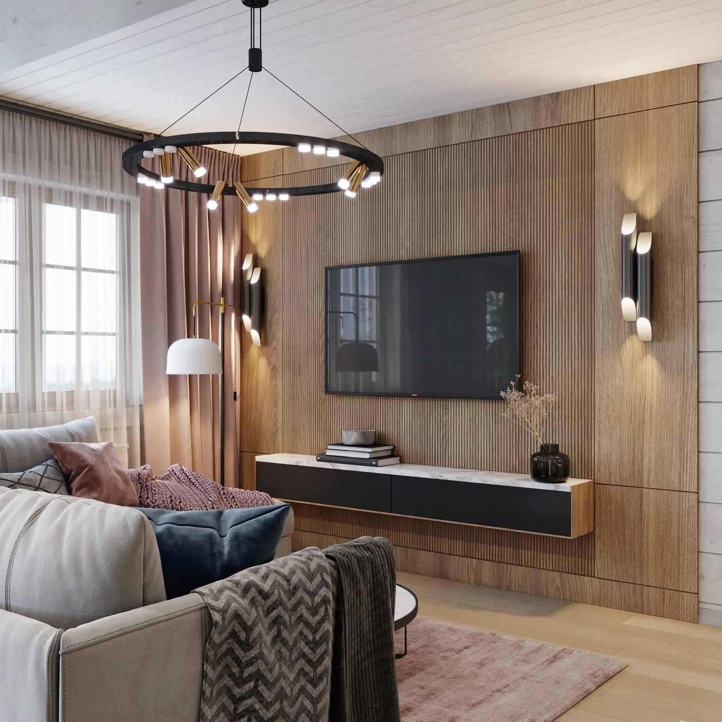 интерьер современной гостиной 32