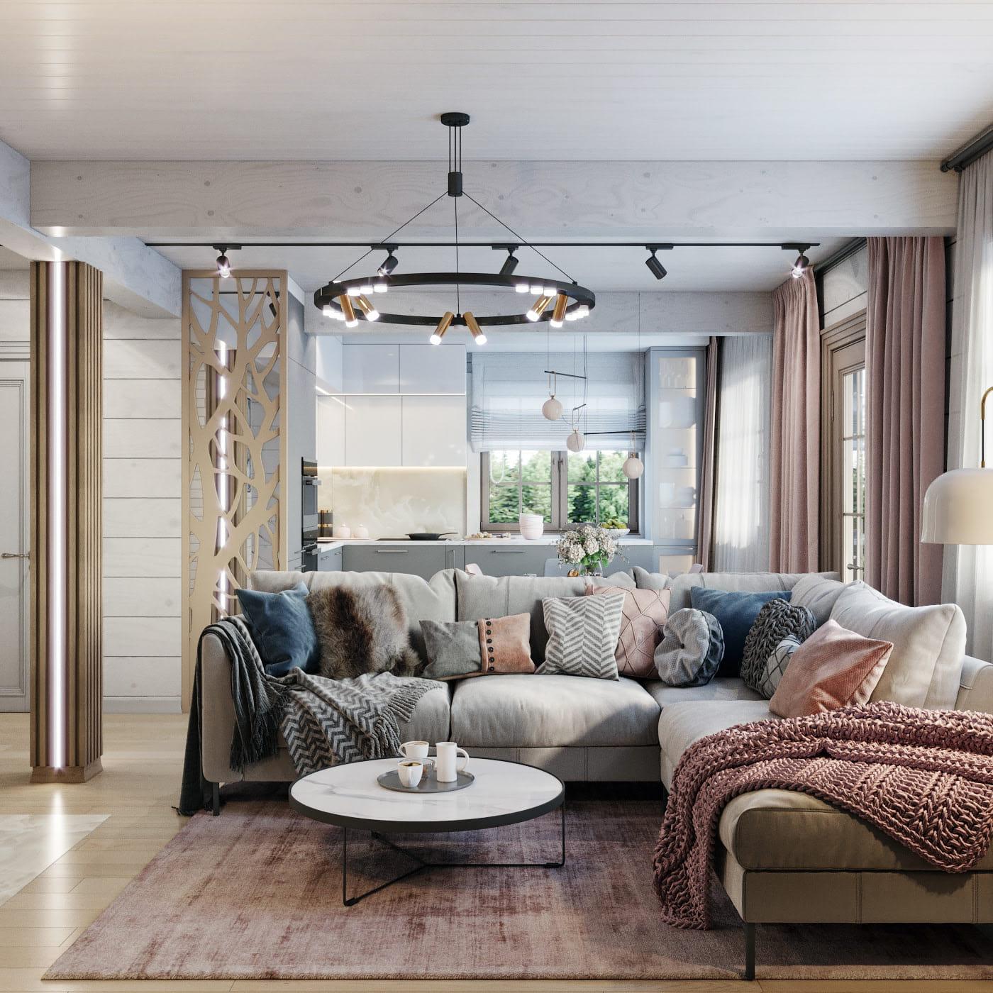 интерьер современной гостиной 33