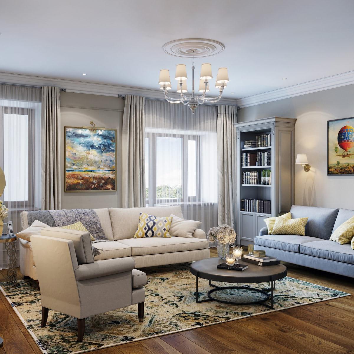 интерьер современной гостиной 34
