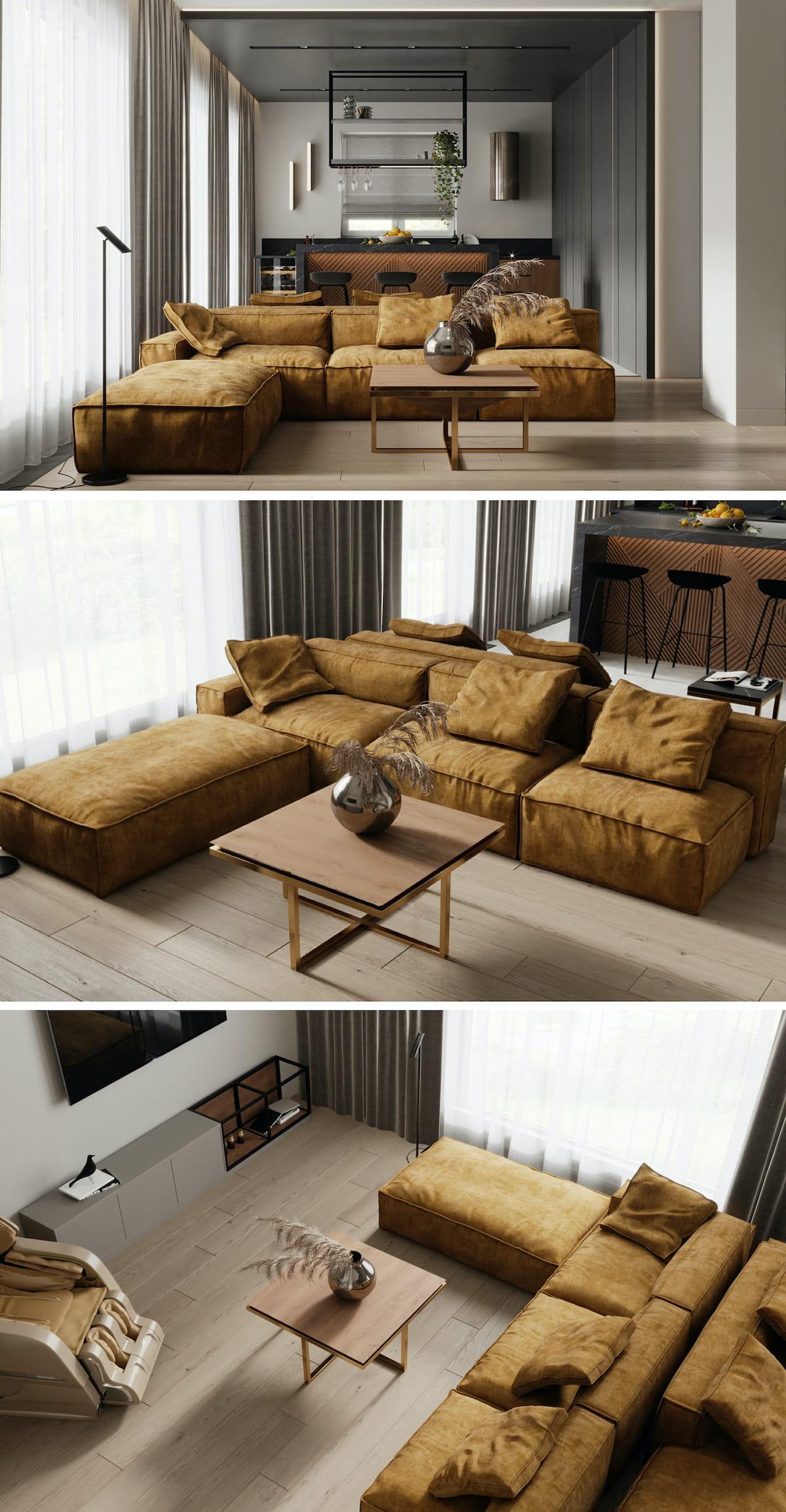 интерьер современной гостиной 42