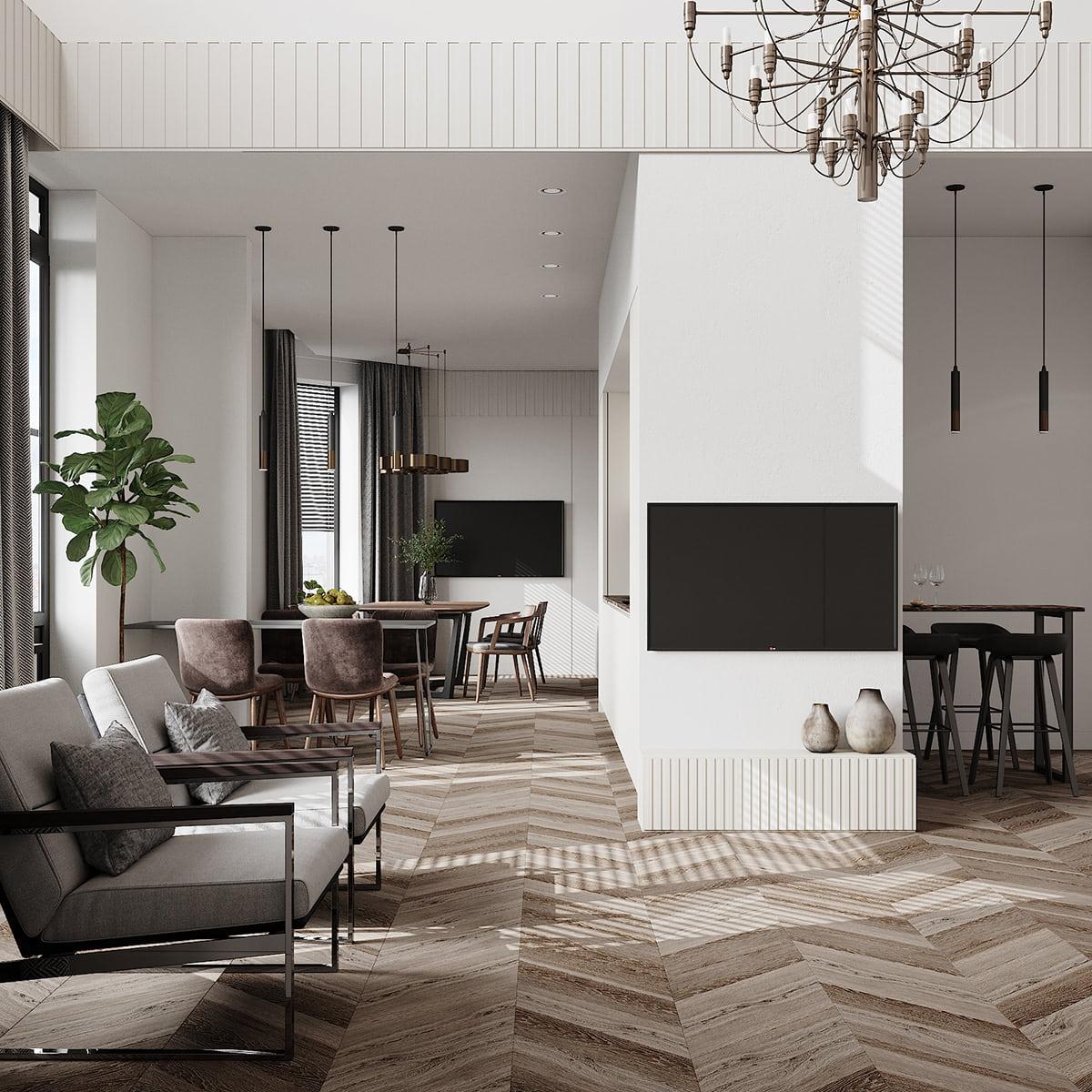 интерьер современной гостиной 17