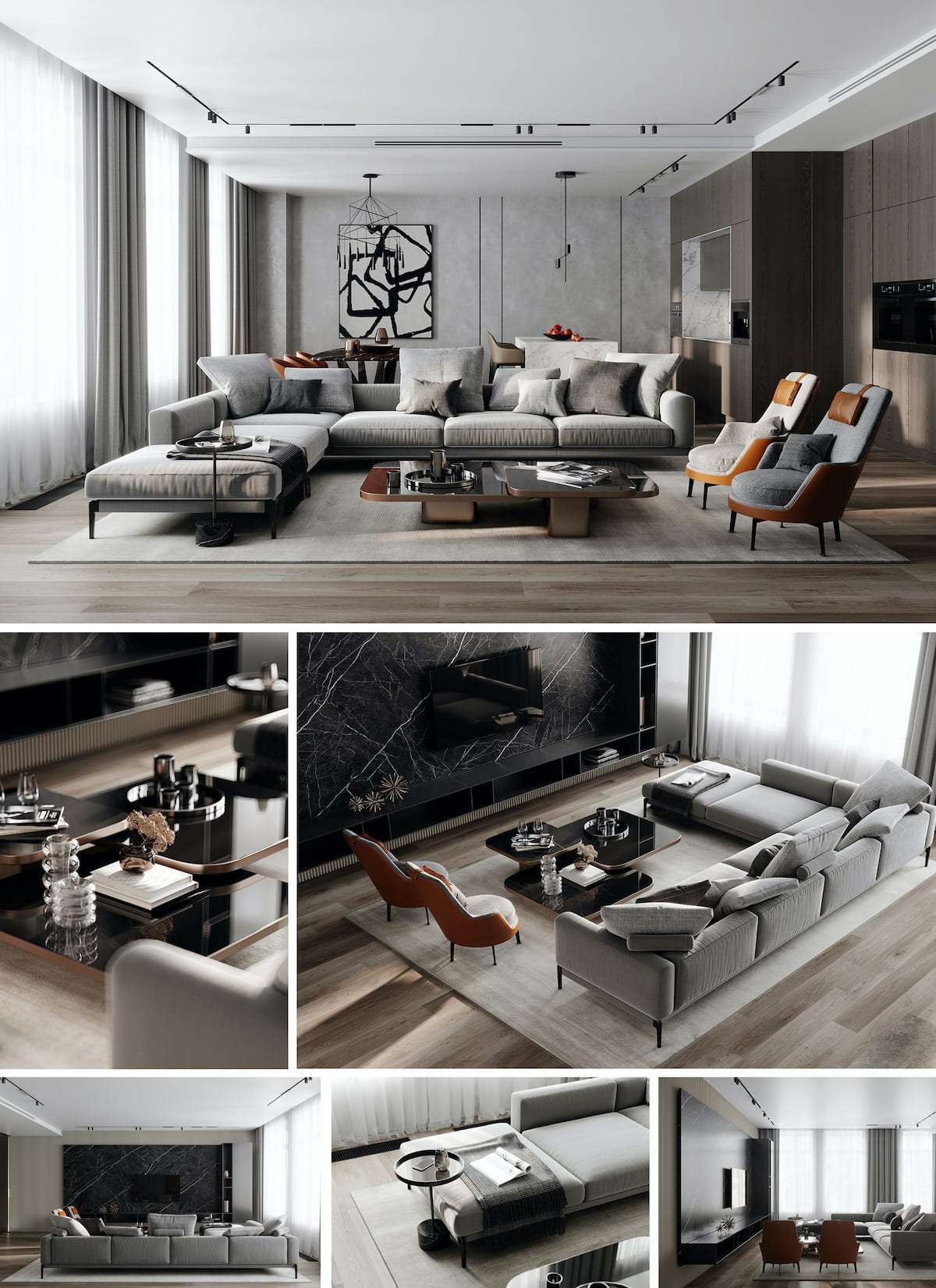 интерьер современной гостиной 36