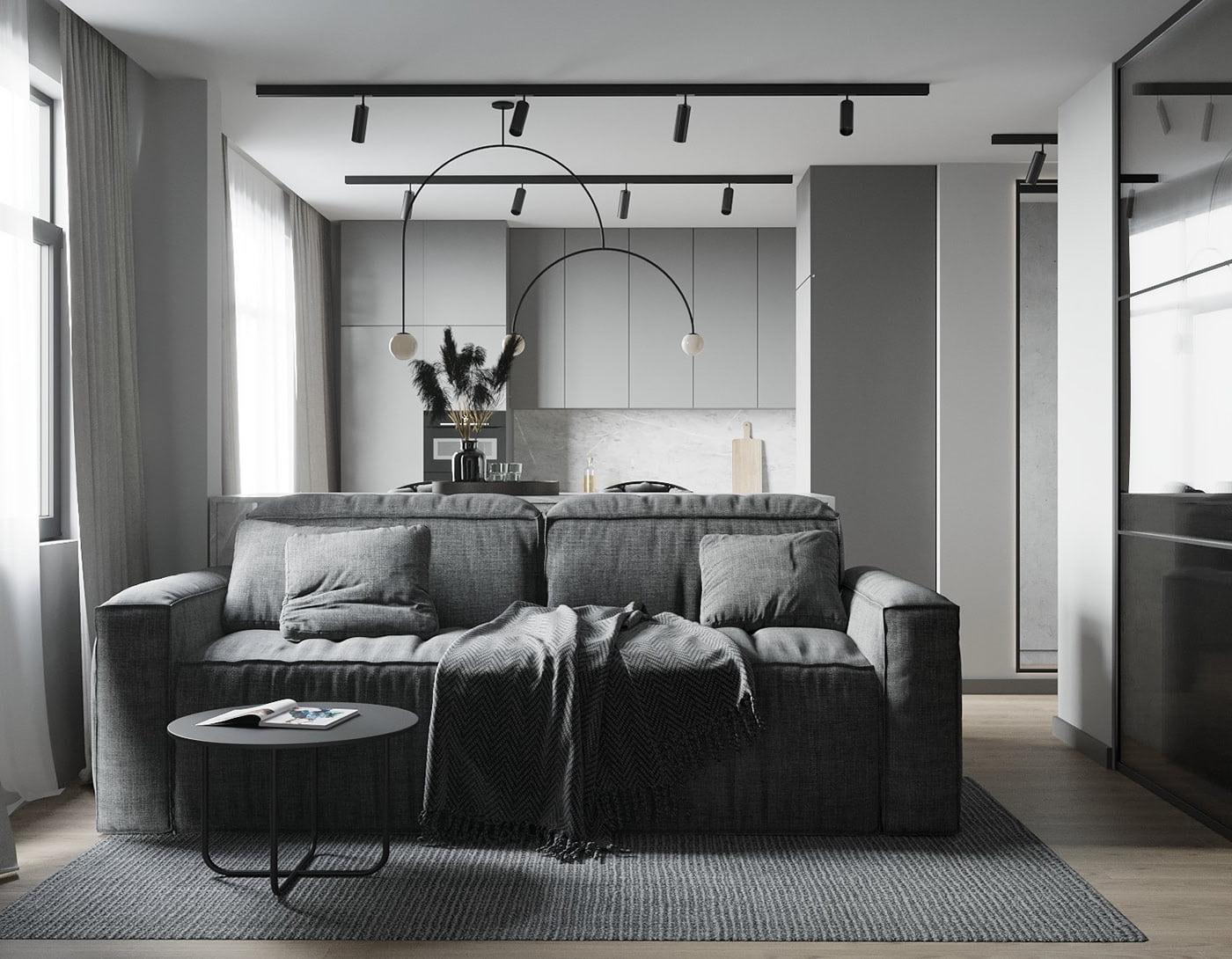 интерьер современной гостиной 44