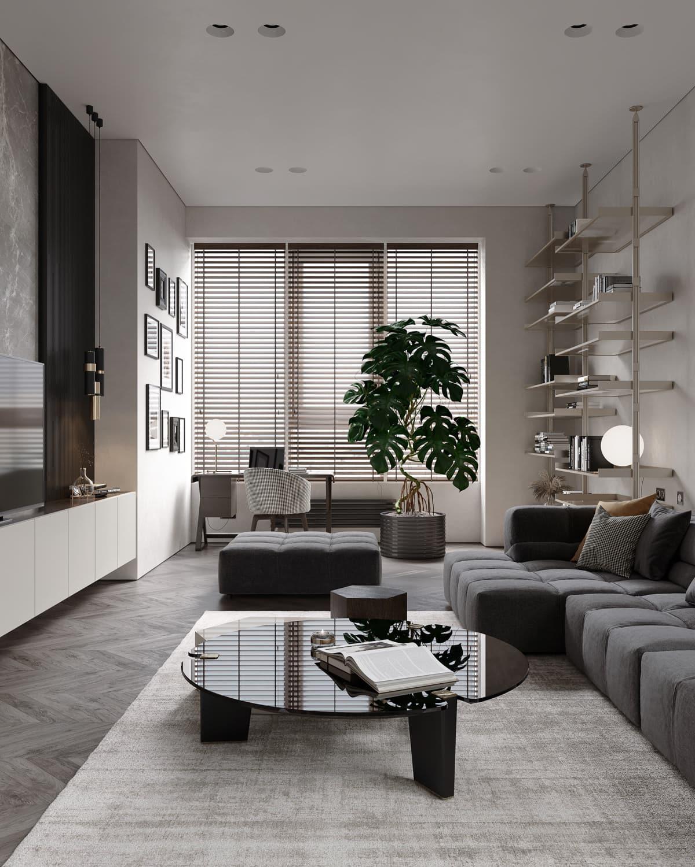 интерьер современной гостиной 3