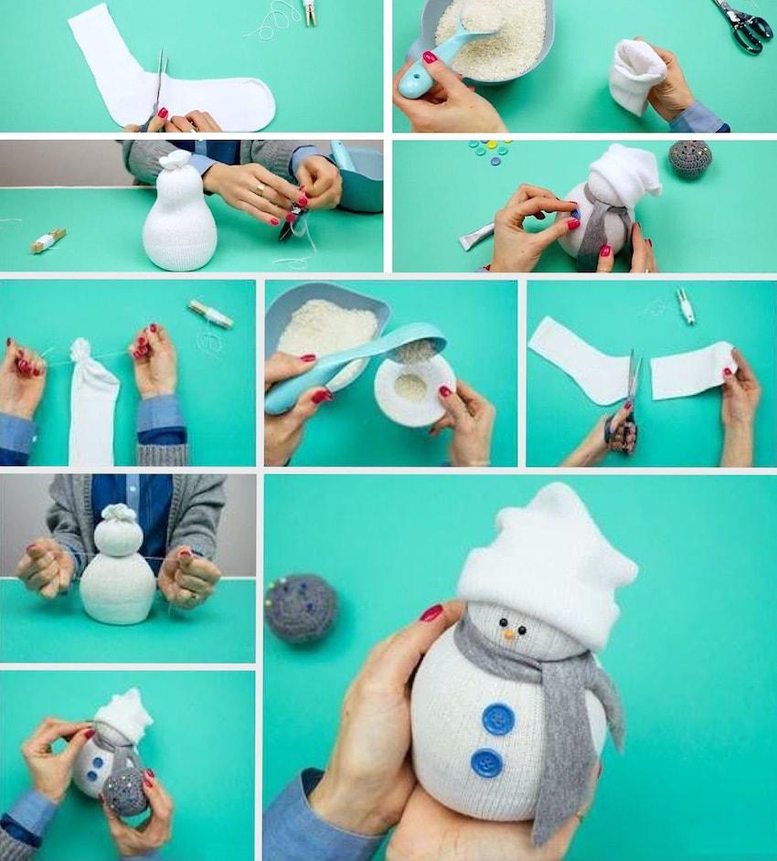 Пошаговое изготовление снеговика из носка своими руками