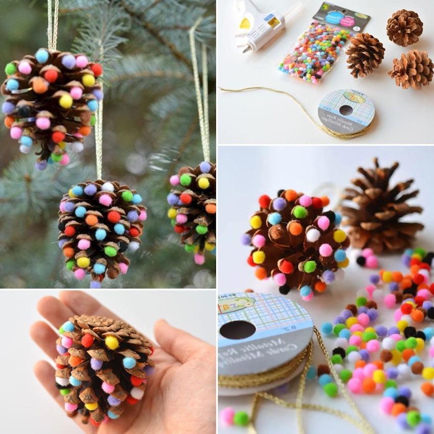 Разноцветные шарики из фетра можно приклеить к раскрытым лепесткам сосновой шишки, тем самым вы получите оригинальное украшение для новогодней елки