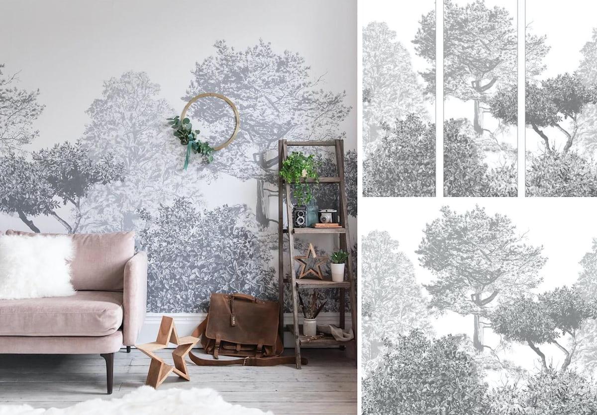 Уютная гостиная комната, где обои, мебель и декорации отлично гармонируют друг с другом