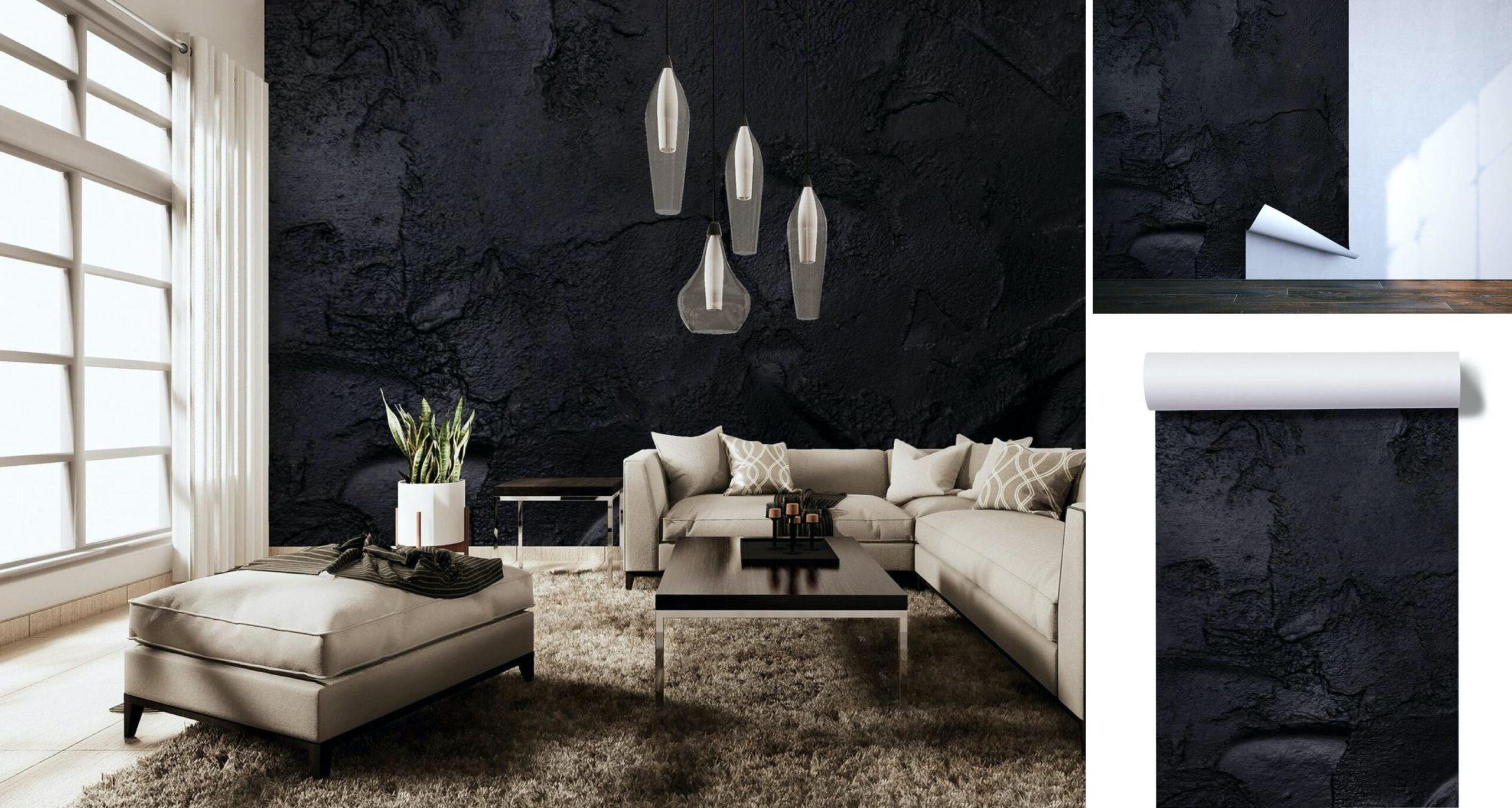 Эффектные обои с объемным 3D рисунком в виде черной стены с трещинами