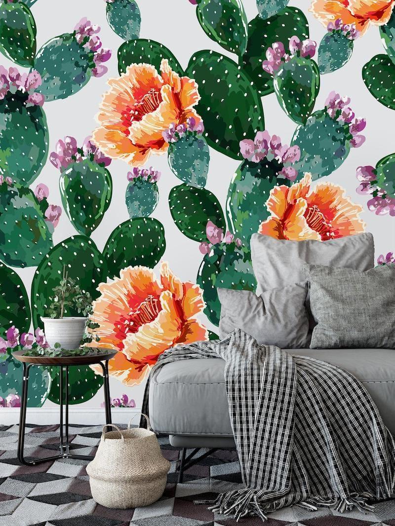 Обои с изображением цветущего кактуса