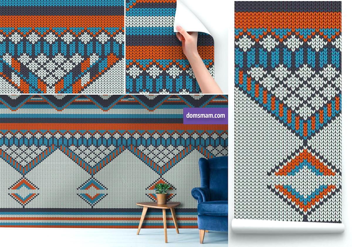 Обои под вязаное полотно хорошо впишутся в неоклассический интерьер