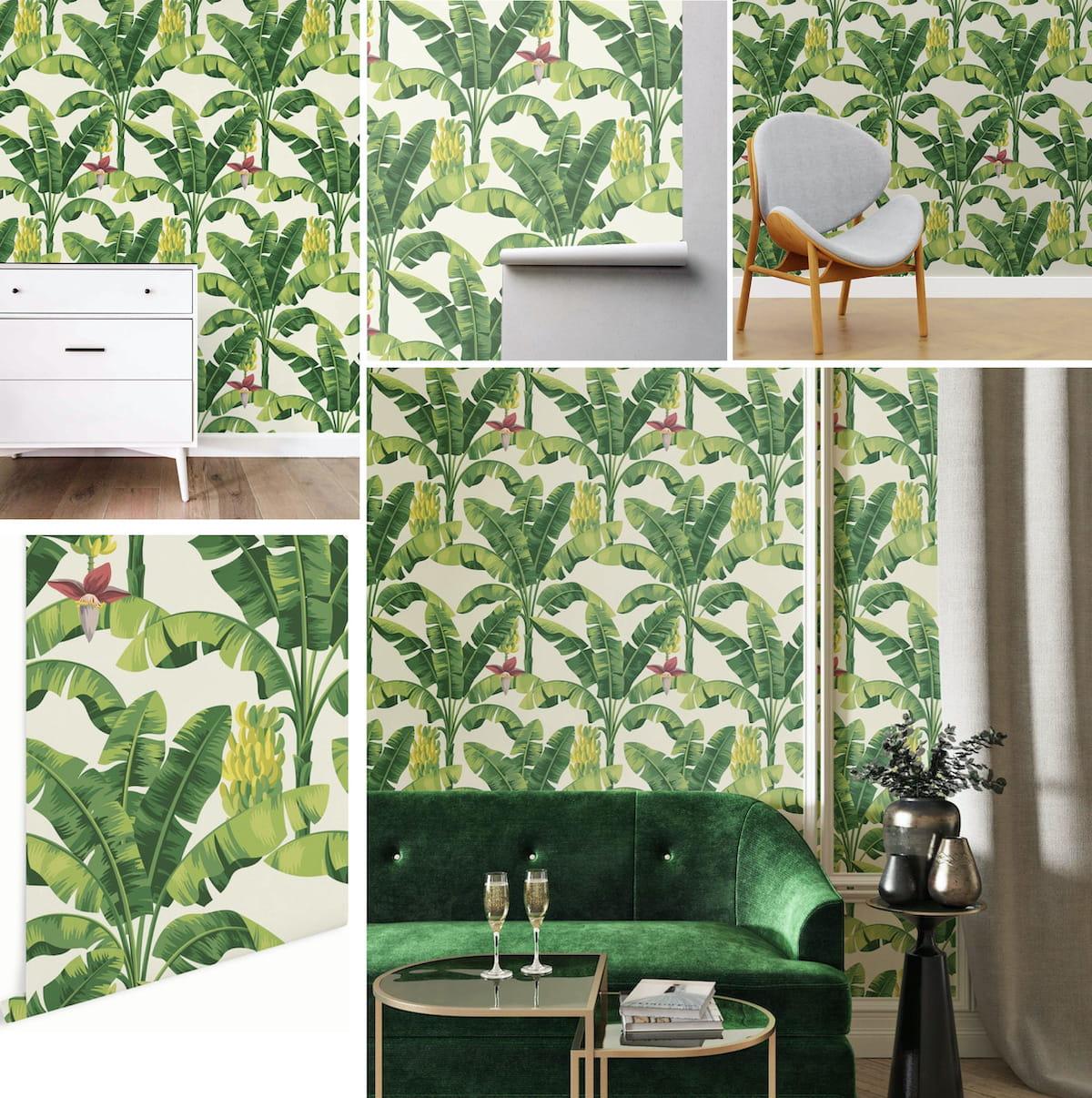 Обои с зелеными растениями освежают комнату