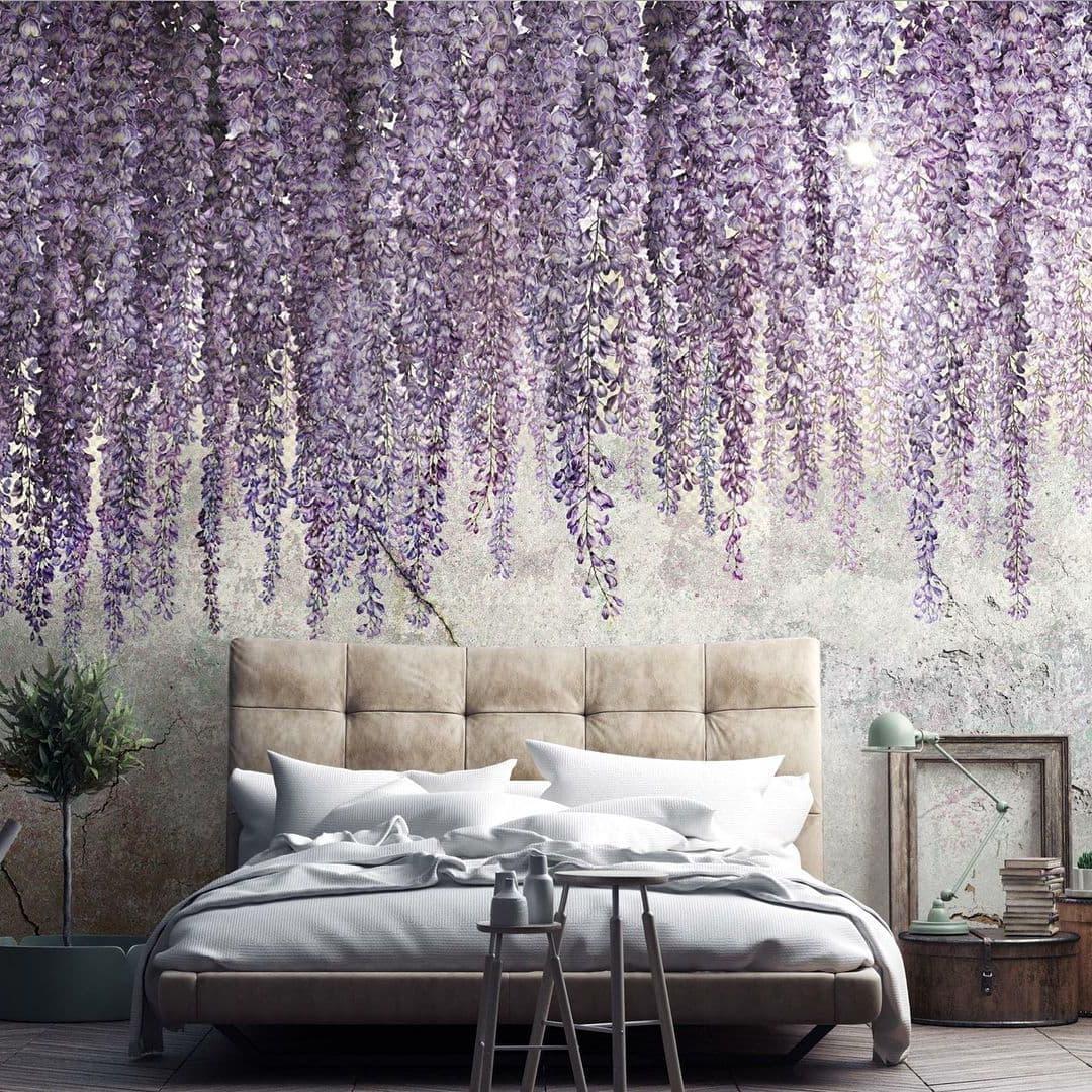 С помощью жидких обоев на стене можно создавать удивительные по красоте пейзажи