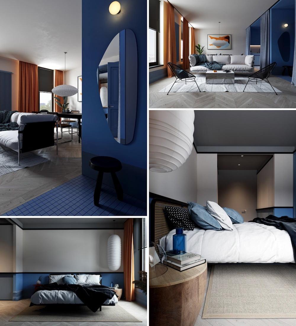 Приятный и привлекательный дизайн интерьера в бело-оранжево-синем цвете