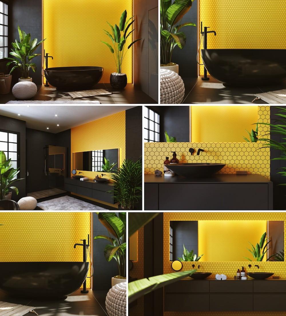 Сочетание черного и желтого цвета в интерьере ванной